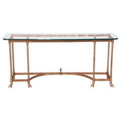 Labarge Hollywood Regency Brass and Glass Hooved Feet Console Table, Circa 1960s