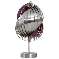 20th Century Henri Mathieu Table Lamp Mod. Spirales Cinétiques in Aluminium '60s