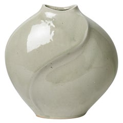 Celadon Xxth Century Abstract Porcelain Ceramic Vase by Askett French Design