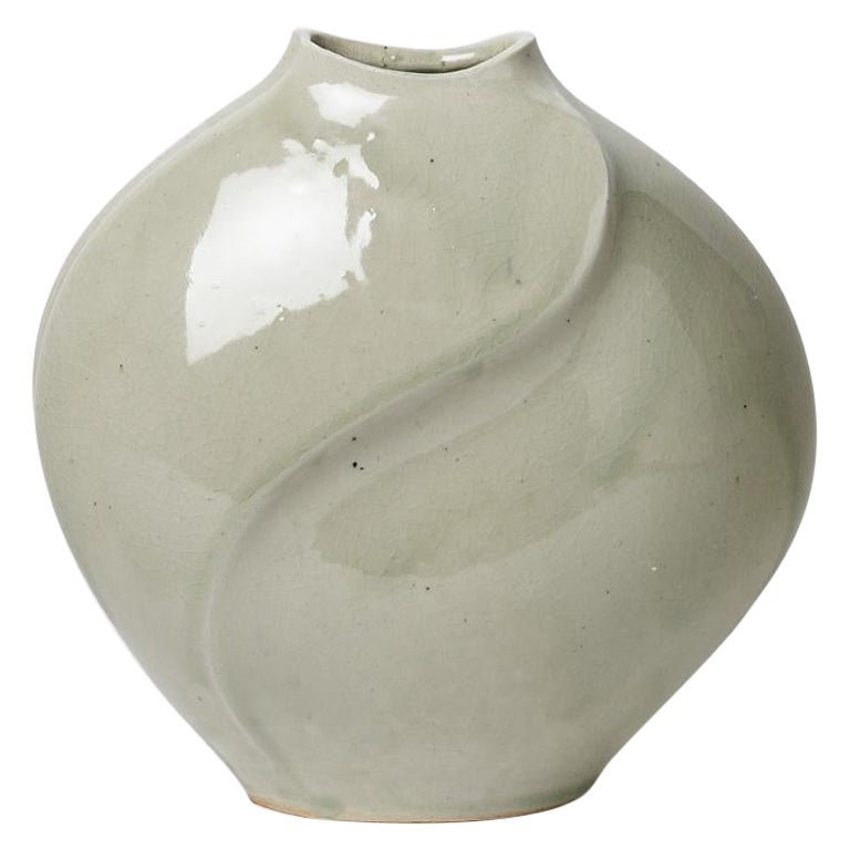 Celadon Xxth Century Abstract Porcelain Ceramic Vase by Askett French Design For Sale