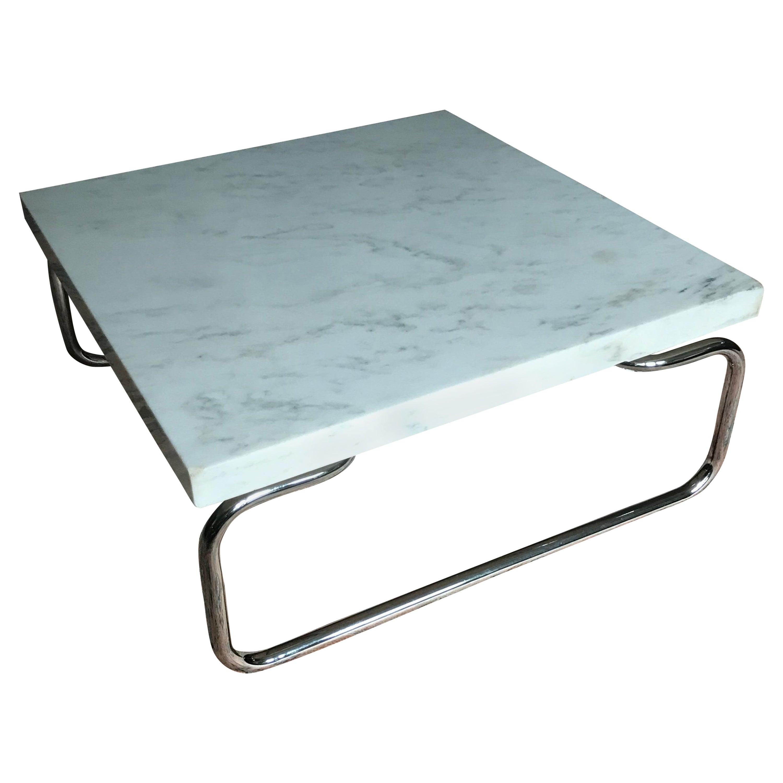 Michael McCarthy for Cassina Carrara Marble & Chrome Table