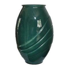Tall Green Glass Art Deco Vase