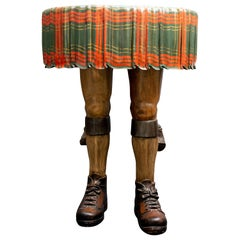 Hand Carved and Painted Wood Kilt Side Table