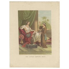 Antique Bible Print of the Little Captive Maid by Kronheim 'c.1860'