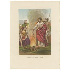 Antique Bible Print of Paul and the Viper by Kronheim 'c.1860'