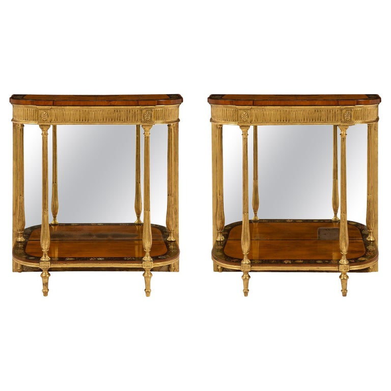 Pair of Early 19th Century Adams Style Console Tables For Sale