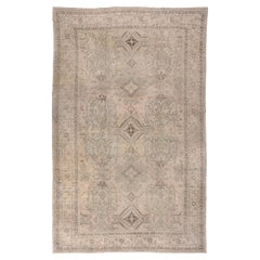 Large Antique Turkish Oushak Carpet with Earth Tones, Allover Field, Circa 1920s