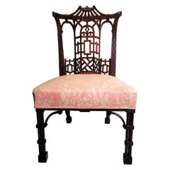 Antique 19th Century English Chinese Chippendale Side Chair, circa 1850-1870