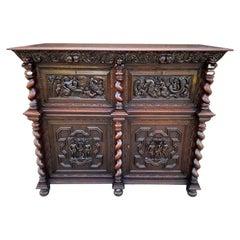 Antique French Oak Liquor Cabinet Bar Sideboard Server Allegorical Barley Twist