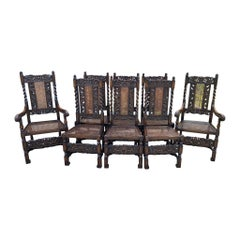 Antique English Chairs Set of 8 Barley Twist Caned Oak Dining Chairs Seating