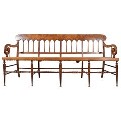 Early 19th Century Burlwood Maple Dowel Leg Caned Bench