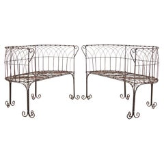 Pair of Art Nouveau Style French Iron Garden Benches