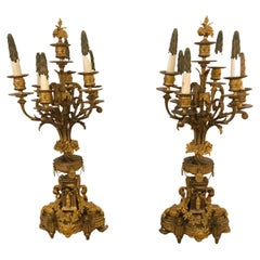 Magnificent Pair of Neoclassical Cast & Gilt Bronze Relief Ornate Candleabras