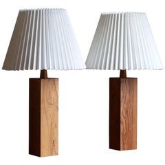 Swedish, Minimalist Table Lamps, Rosewood, Sweden, 1950s