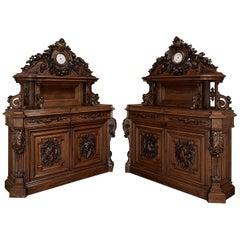 Pair Stunning French Renaissance Revival Sculpted Buffets