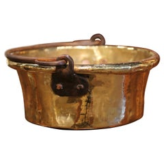 18th Century French Copper Jelly and Jam Boiling Bowl with Forged Iron Handle