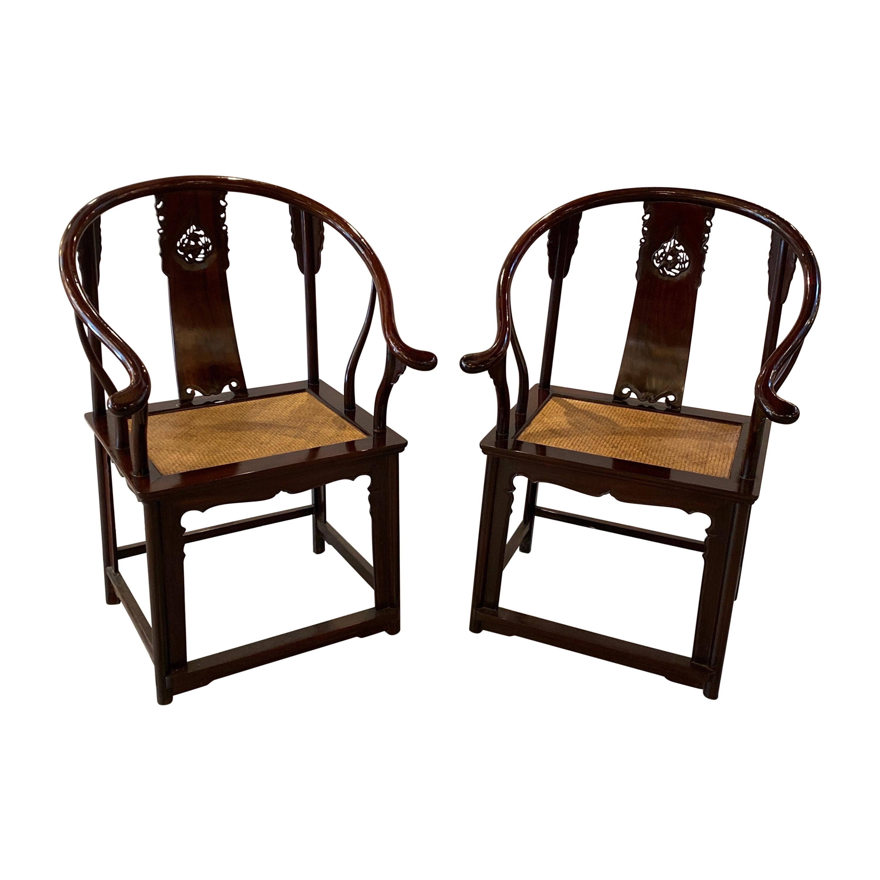 Pair of Antique Hand Carved Chinese Horseshoe Back Arm Chairs