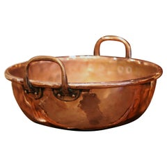 Mid-19th Century French Copper Jelly and Jam Boiling Bowl with Brass Handles