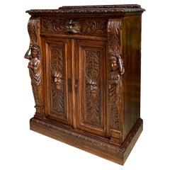 Petite Antique French Carved Oak Cabinet Server Table Renaissance Server Lion