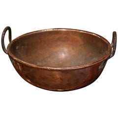 18th Century French Copper Jelly and Jam Boiling Bowl with Iron Handles