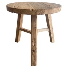 Reclaimed Round Elm Wood Side Table