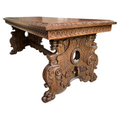 Vintage French Carved Oak Coffee Cocktail Table Renaissance Griffin Mid Century