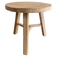 Round Reclaimed Elm Wood Side Table