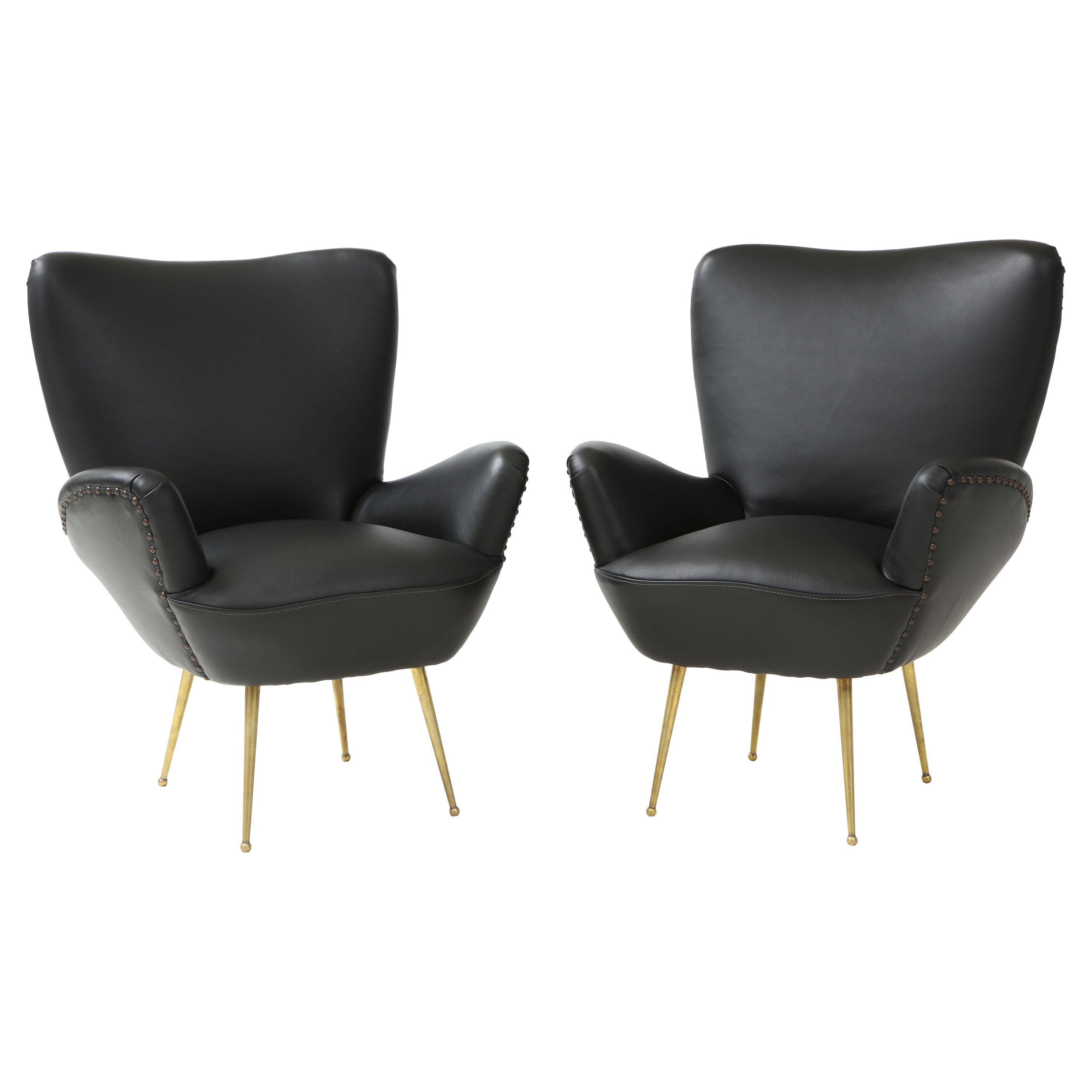Antonino Gorgone Modernist Brass and Leather Lounge Chairs