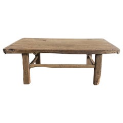 Vintage Antique Elm Wood Coffee Table