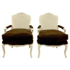 Mid-Century French Style Painted Bergere Chairs in Brown Mohair