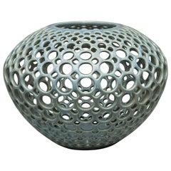 Pierced Ceramic Orb Vessel/Vase- Moss Green