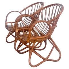 Vintage Organic Modern Stick Rattan Lounge Chairs, a Pair