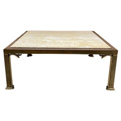 Italian Travertine & Brass Square Coffee Cocktail Table After Mastercraft Italy
