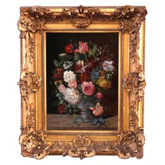 Antique Floral Still Life Painting Signed Karl Heine, c1900