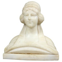 Antique Classical Carved Alabaster Bust Sculpture of a Woman, Circa 1890