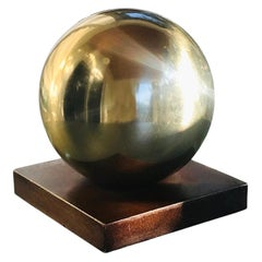 Mid-Century Modern Architectural Brass Globe Sculpture and Bookend, 1970s