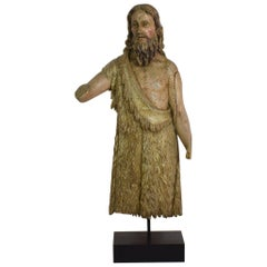 Large French 17th Century Weathered Handcarved Wooden Saint Fragment
