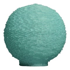 Murano Terrestrial Globe Art glass Round Water Green Color Table Lamp, 1970