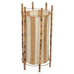 Louis Sognot Midcentury Cotton, Bamboo and Rattan Italian Floor Lamp, 1950s