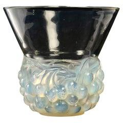 1930 René Lalique Cerises Vase in Opalescent Glass with Blue Patina Cherries