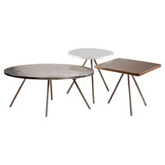 Coffee Table Set of 3 with Hammered Brass, Nickel and Electrostatic Tops