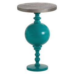 Arabesque, Inspired Lacquered Wood Side Table with Brass Top - Small