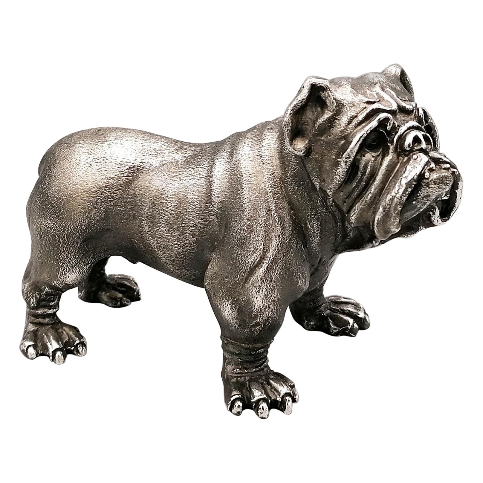 20th Century Solid Silver Sculpture of a Bulldog