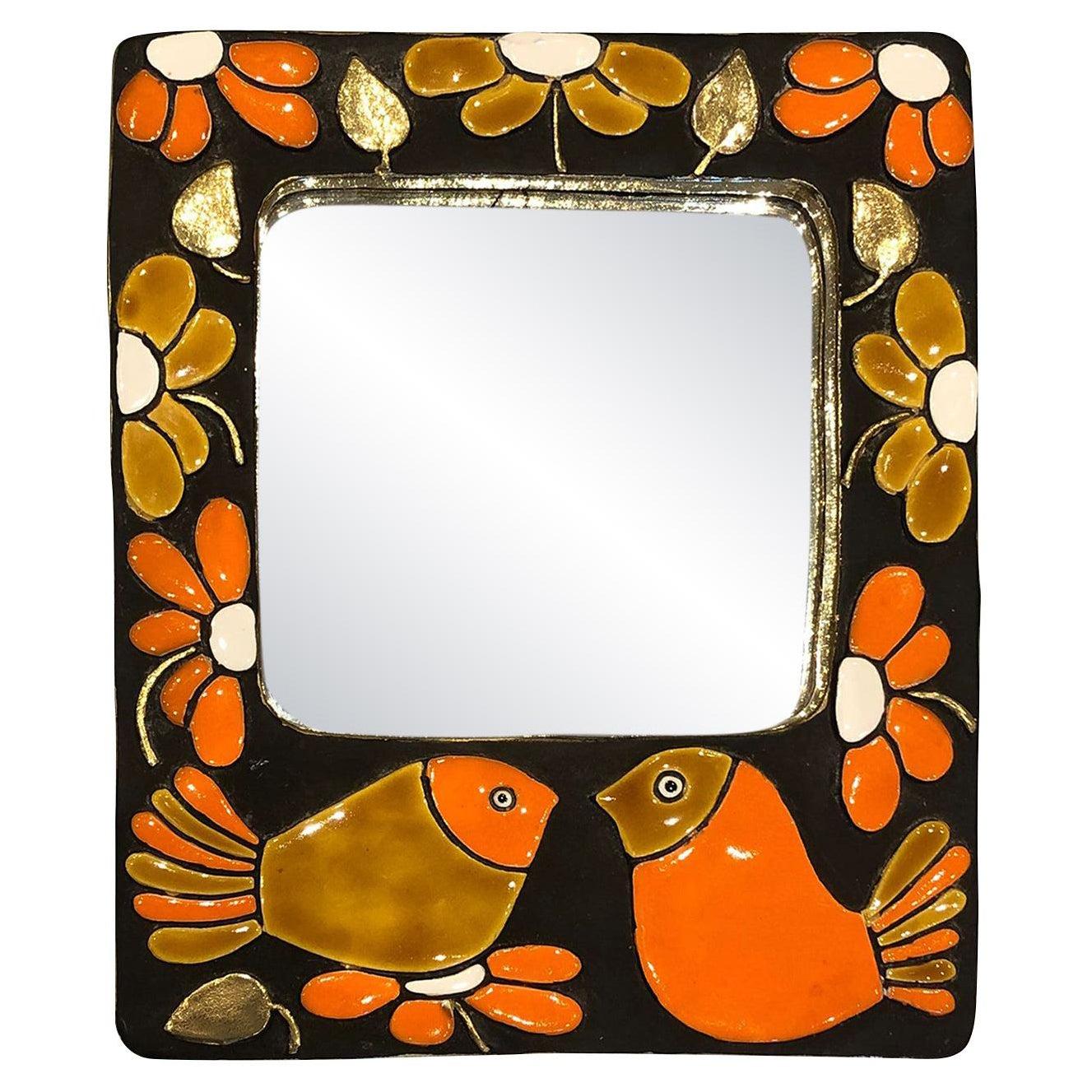 Mithé Espelt, Sparrow mirror, Ceramic, circa 1960, France