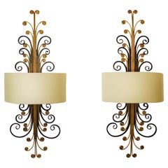 Pair of Large Wall Sconces by Giovanni Banci for Hermès