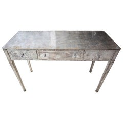L. Marchand Eglomise Art Deco Mirrored Desk/Table/Vanity