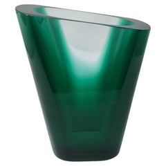 1970s 'Teoreme' Green and Clear Glass Vase by Salviati, Murano