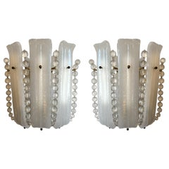 Gorgeous Pair of Wall Lamps by Venini, Murano, 1960s