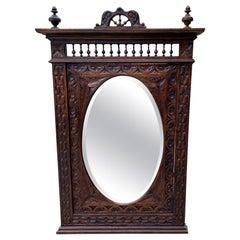 Antique French Mirror Breton Brittany Carved Oak Beveled Oval Large 19C