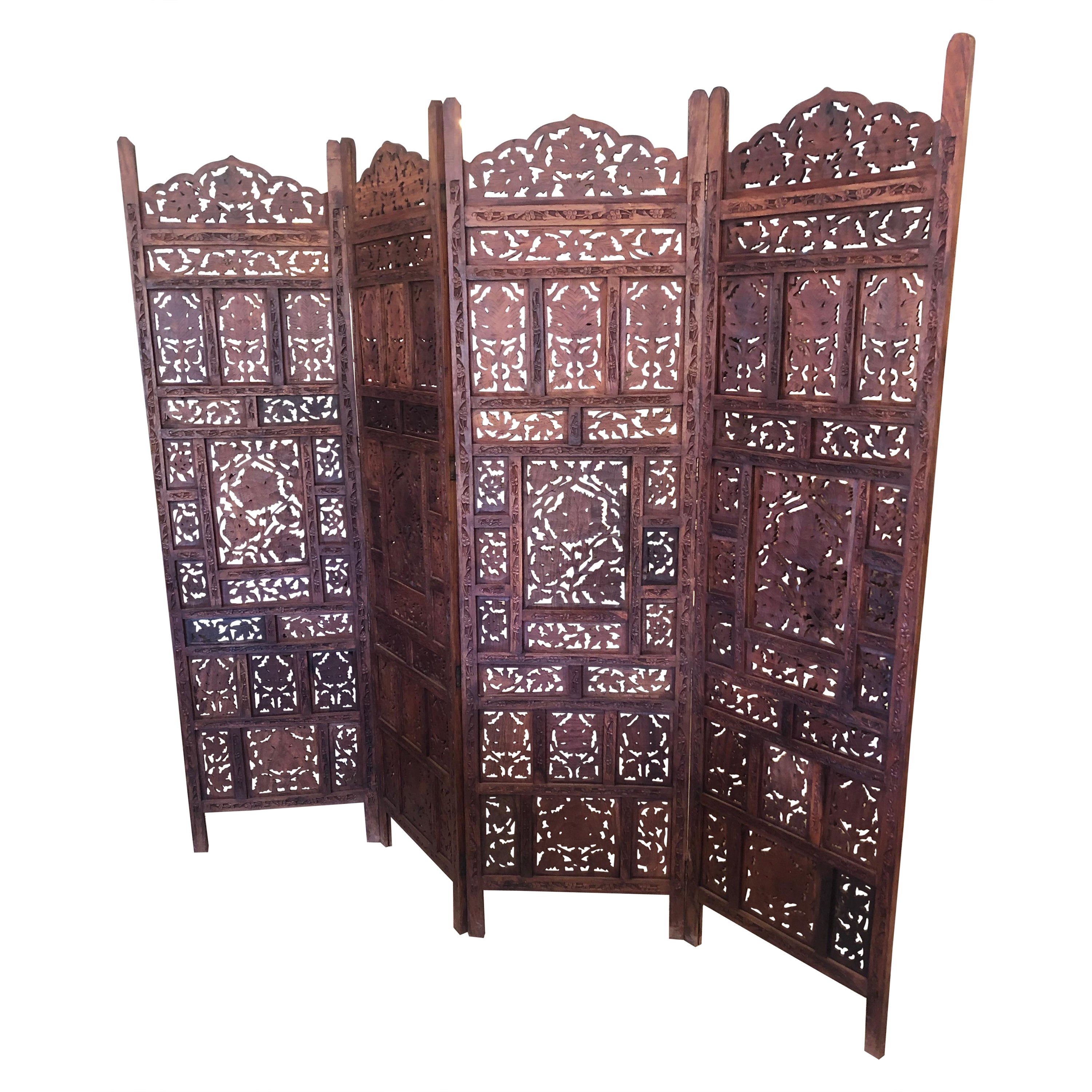 Very Large 4 Panel Anglo Indian Carved Teak Screen Room Divider